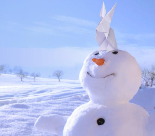 Origami et bonhomme de neige