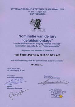 Prix d'honneur pour le spectacle ''Mr Ploc et...''